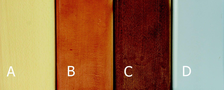 morenie:A-buk,B-čerešňa,C-orech,D-strieborná